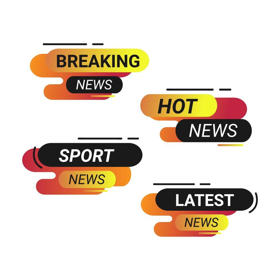 breaking news badge set vector