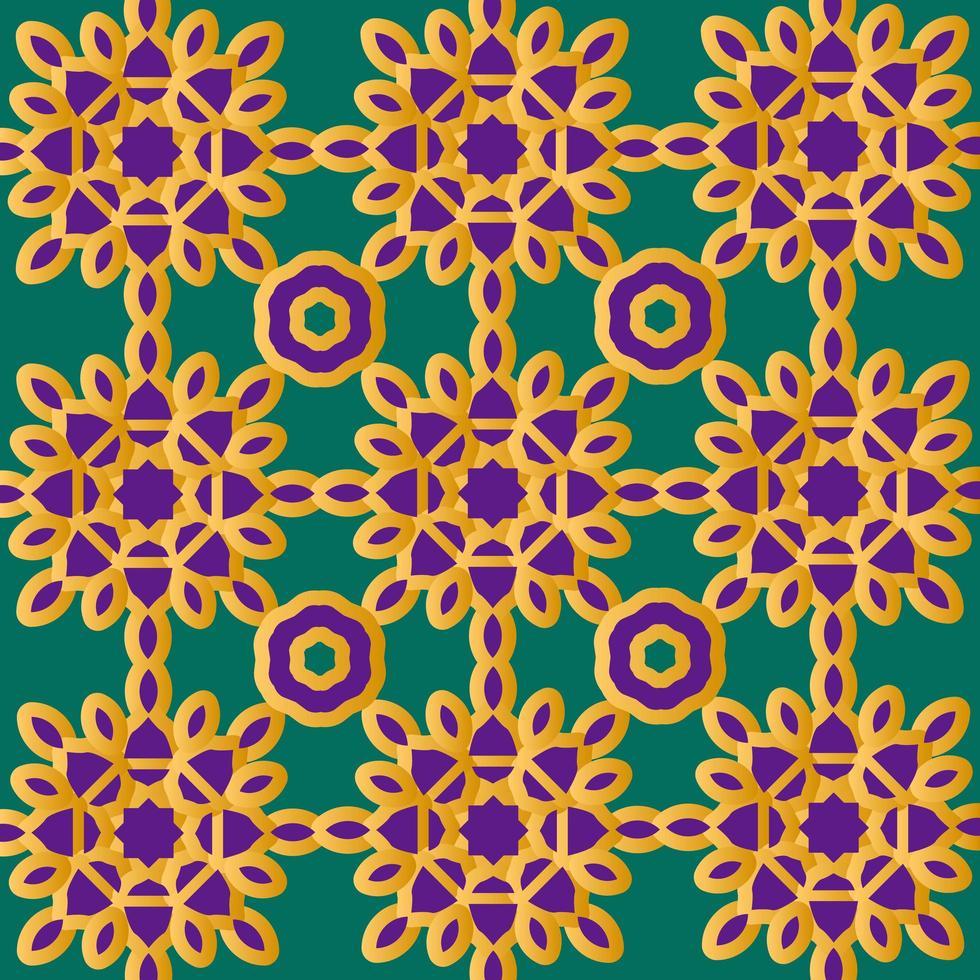 goud en paars islamitisch of Scandinavisch bloemenpatroon vector