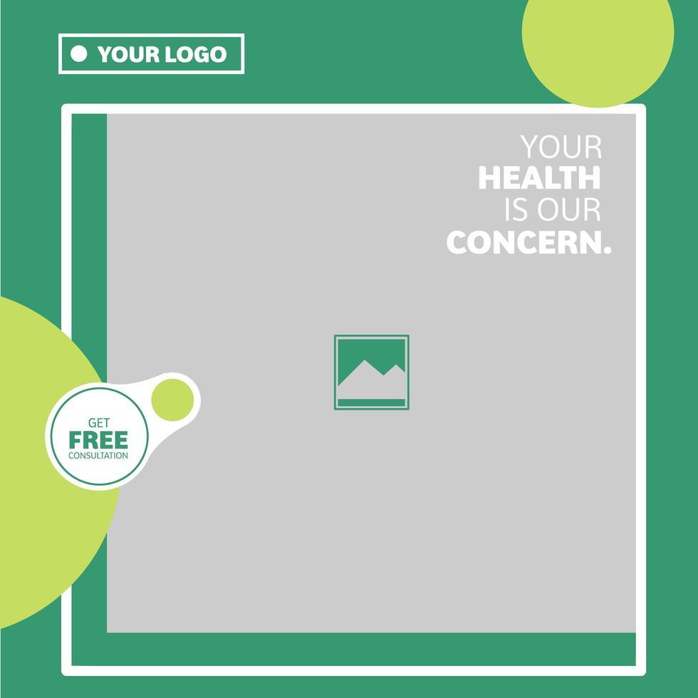 vierkant groene medische en gezondheidsdiensten sociale media banner vector