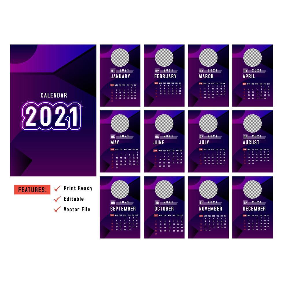 paarse verticale kalenders 2021 met ruimte voor een cirkelafbeelding vector