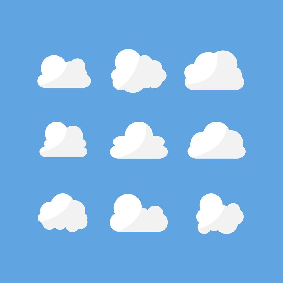 witte wolk ingesteld op blauw vector