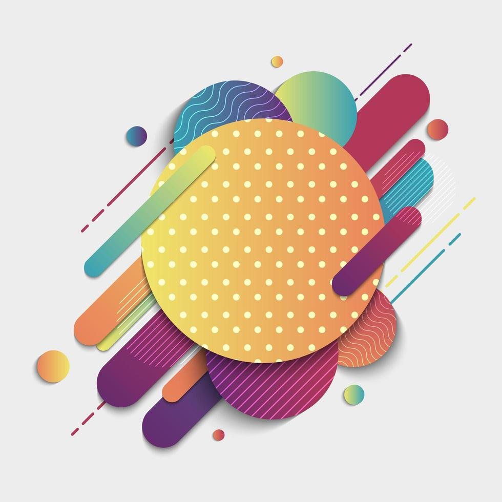 abstracte kleurrijke geometrische patroonsamenstelling afgeronde lijnvormen vector