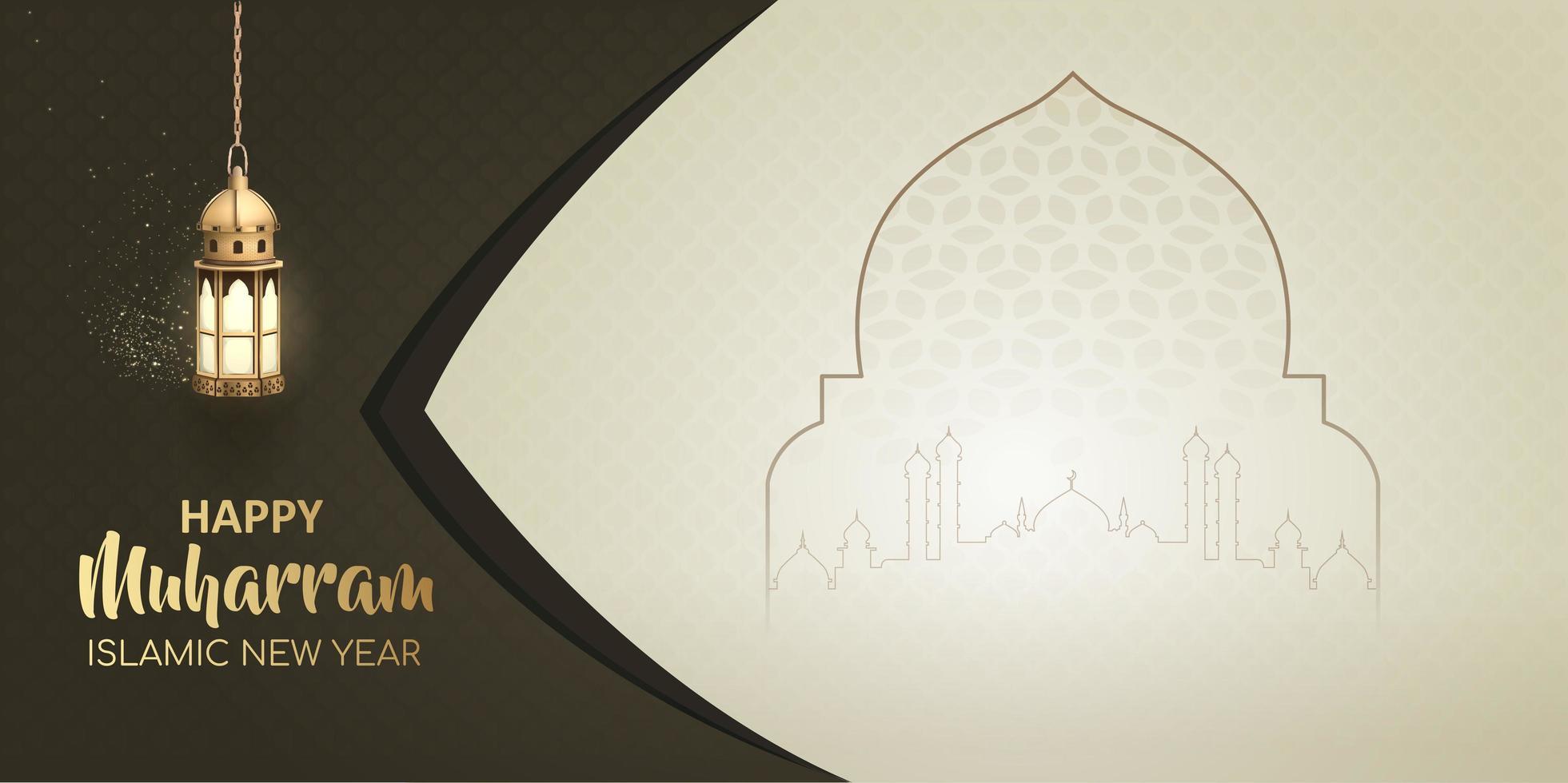 gelukkig muharram islamitisch nieuwjaar wenskaart ontwerp vector