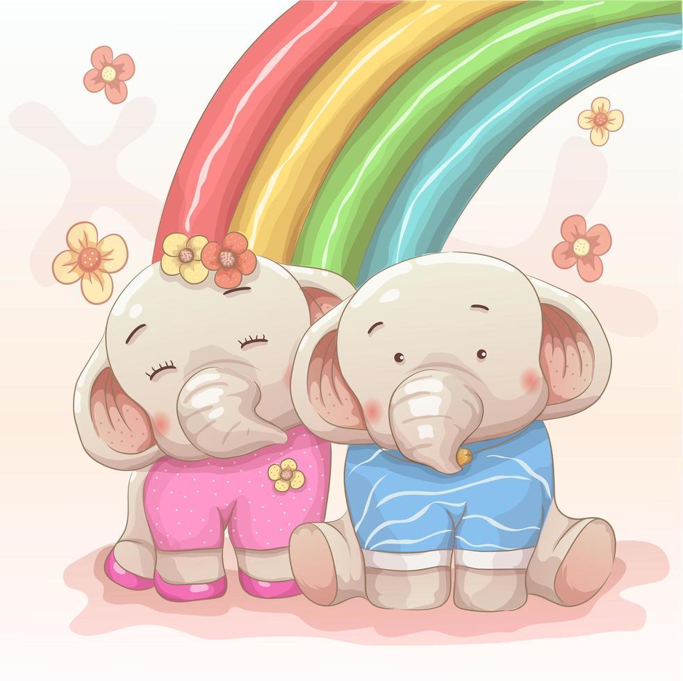 schattige olifant paar verliefd op regenboog vector