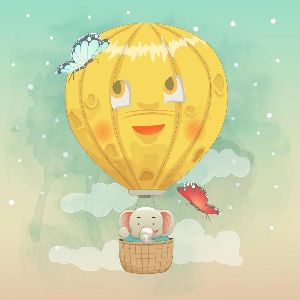 schattige olifant vliegen in de luchtballon vector