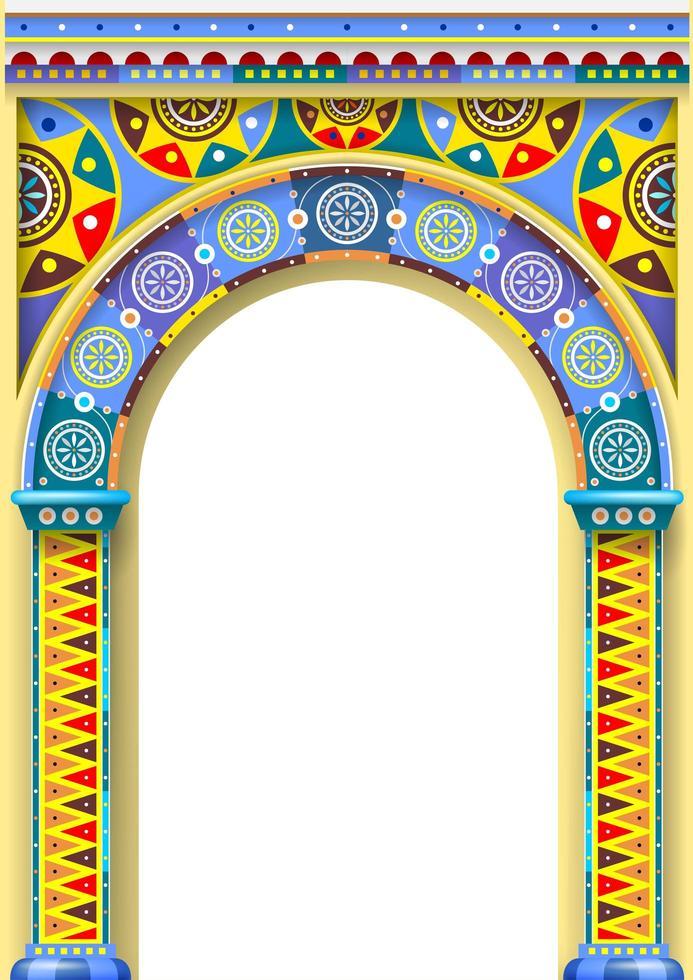 een felle kleurenboog van een carrousel vector