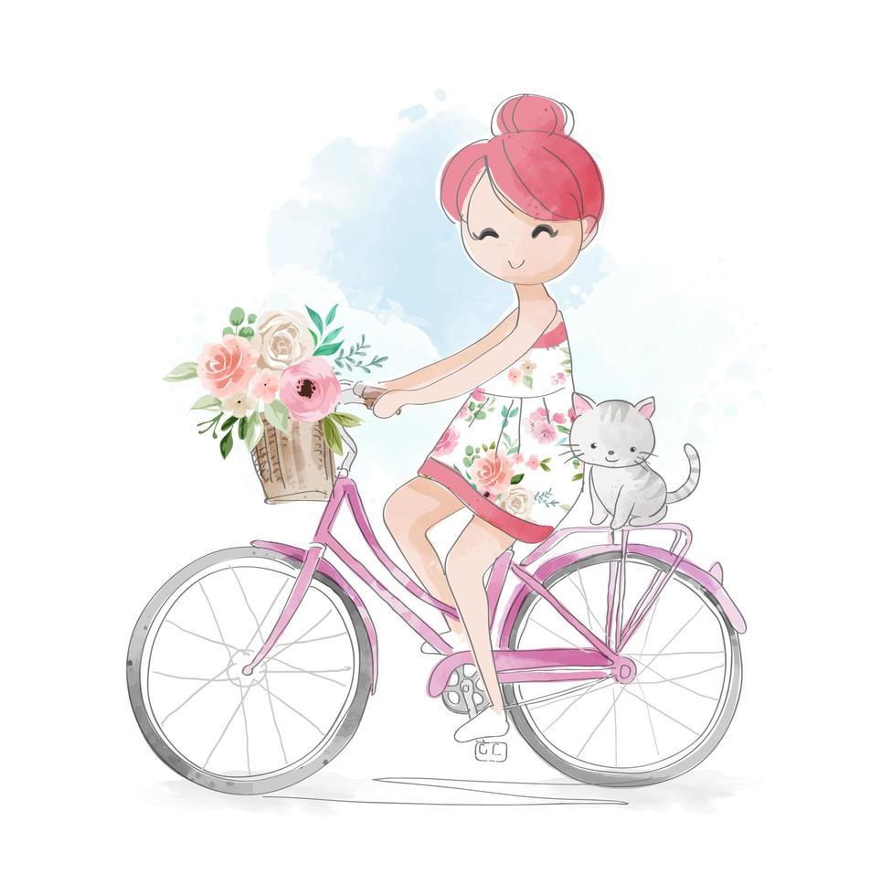 meisje fietsten met kleine kat vector