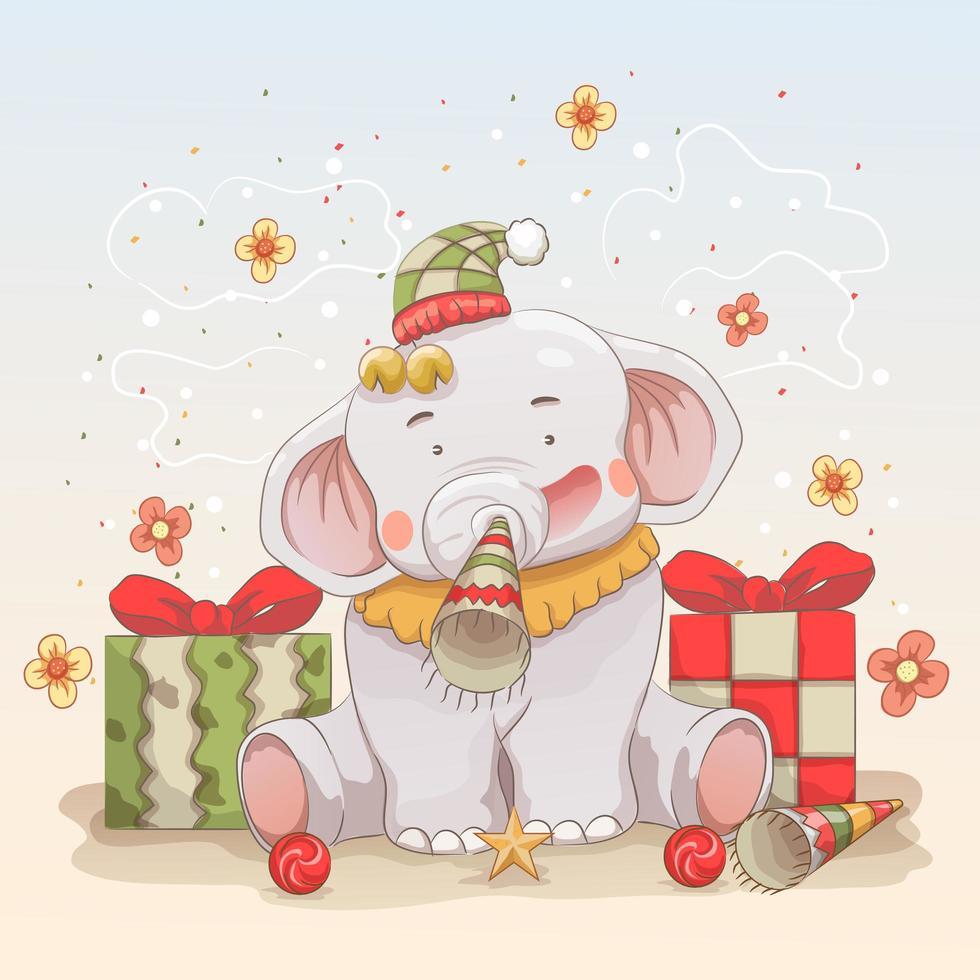babyolifant viert kerst met geschenken vector