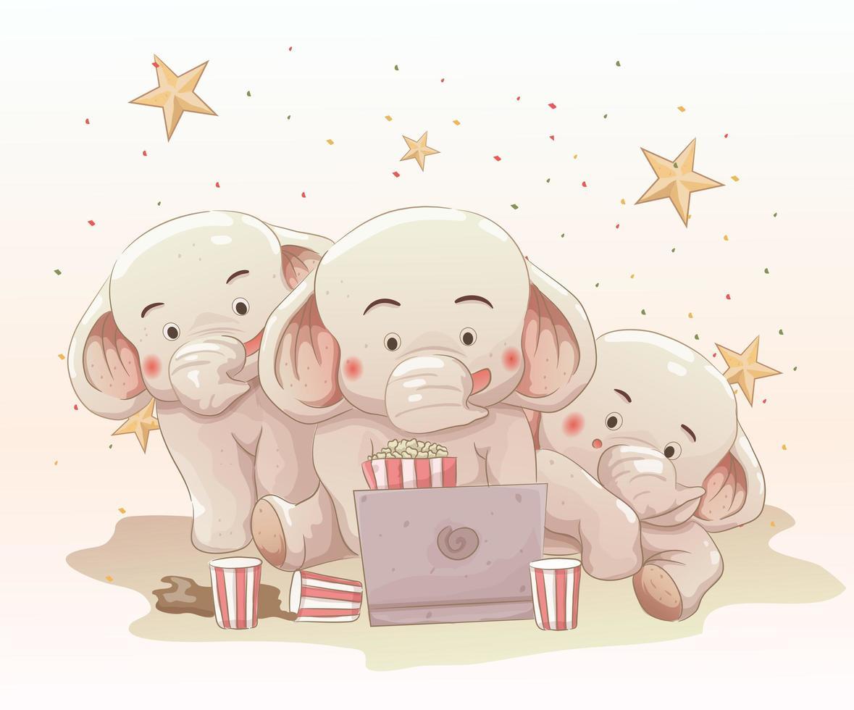 drie schattige olifanten film kijken samen op laptop vector