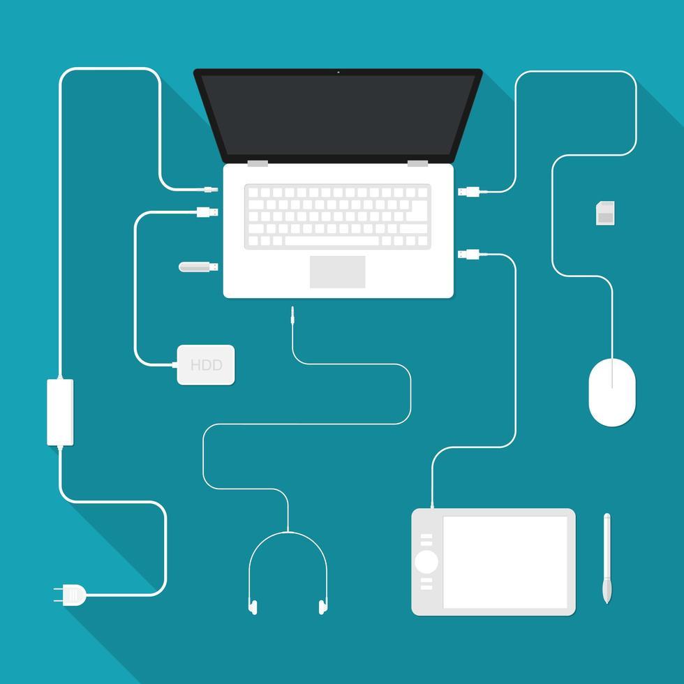 computer laptop en accessoires vector
