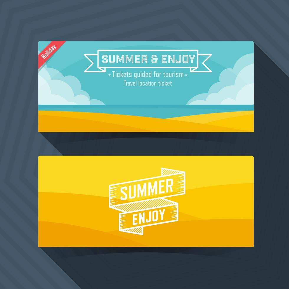 'zomer en geniet van ticket sjabloon set vector