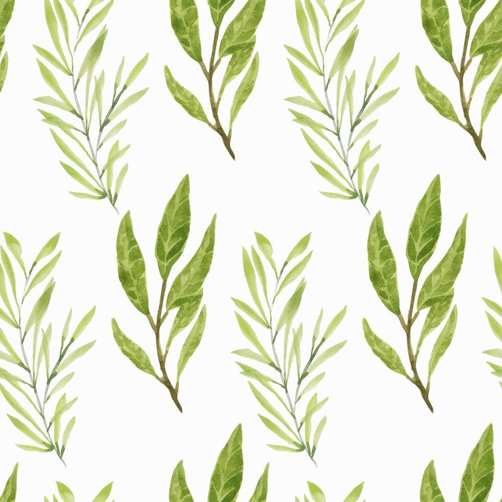 aquarel groen blad takken naadloze patroon vector