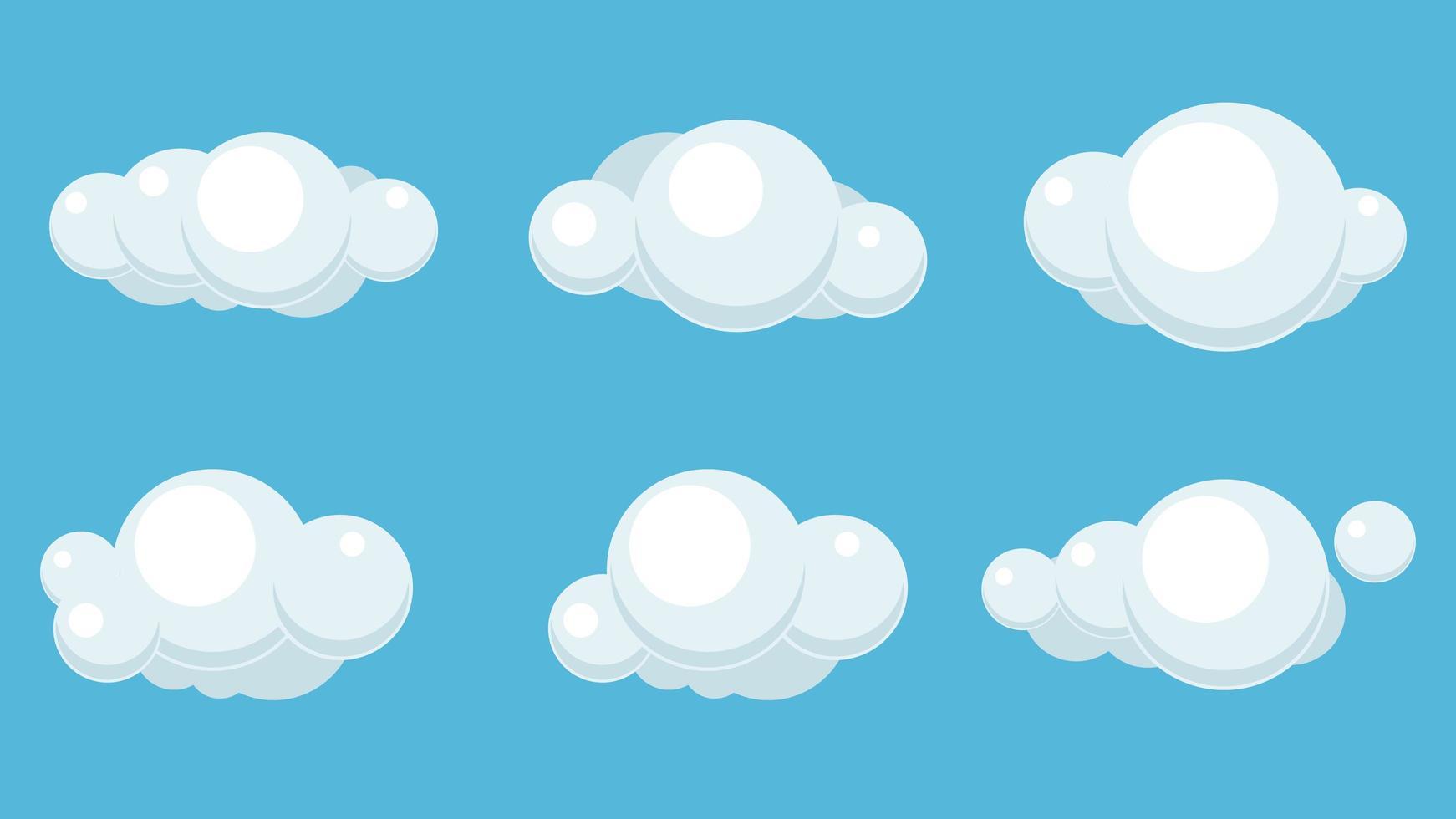 glanzende cartoon wolken instellen vector
