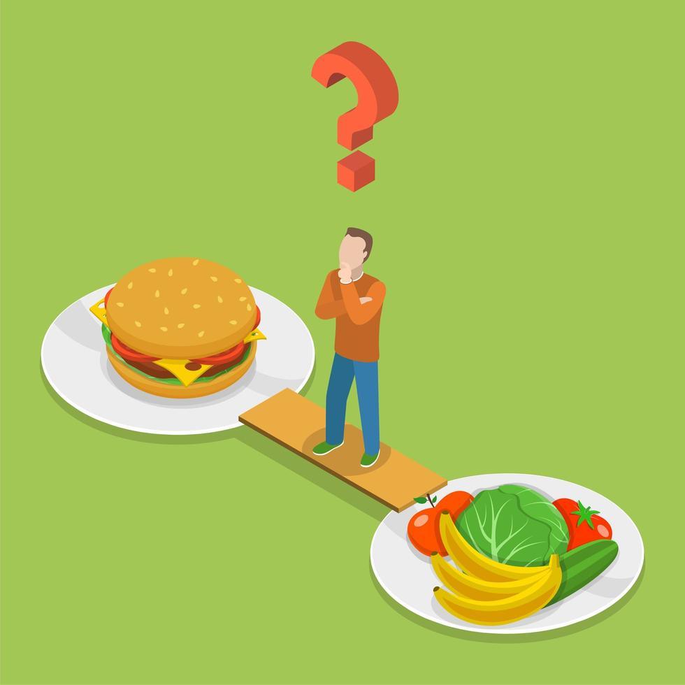 man kiezen tussen gezondheid of junkfood vector