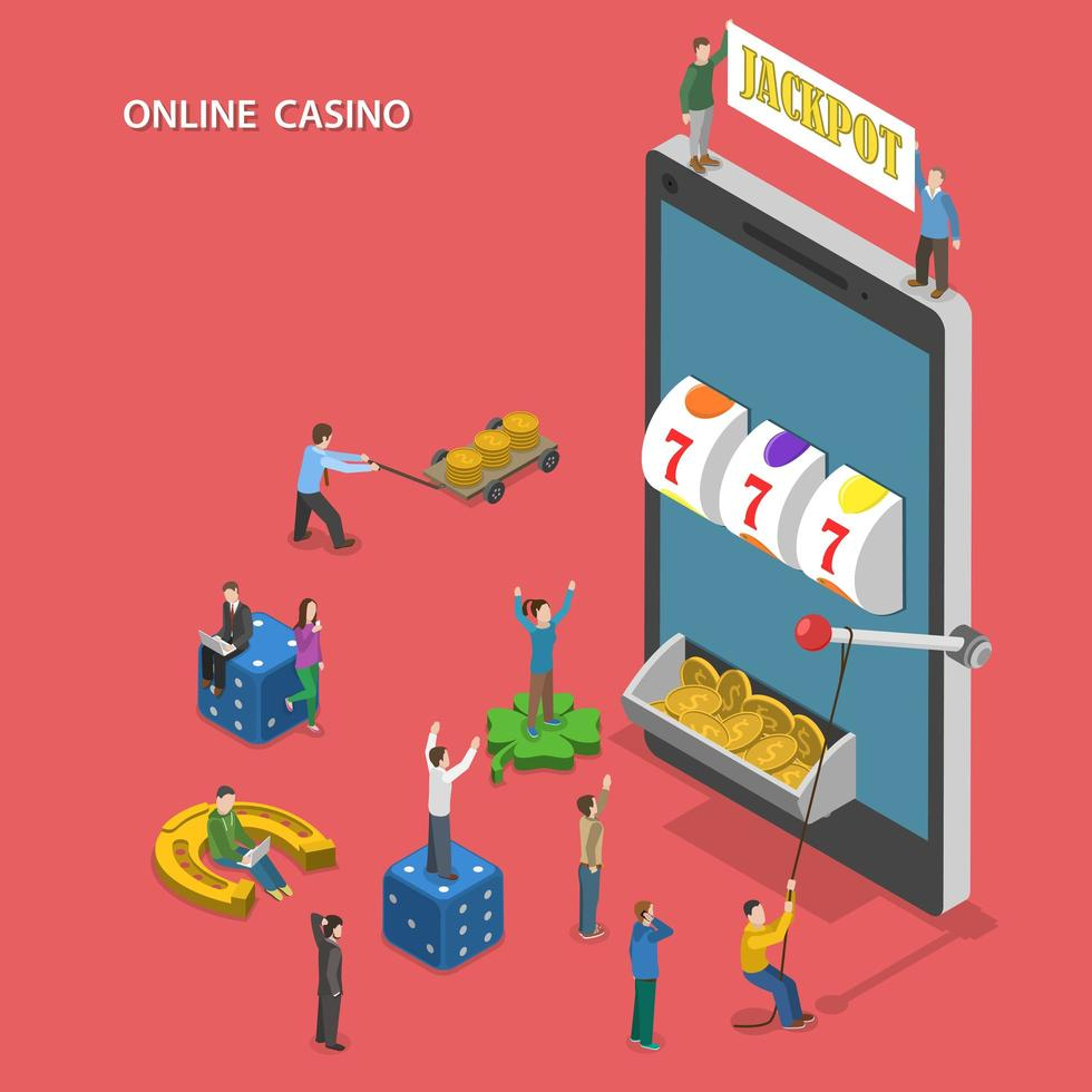 online casino plat isometrisch ontwerp vector