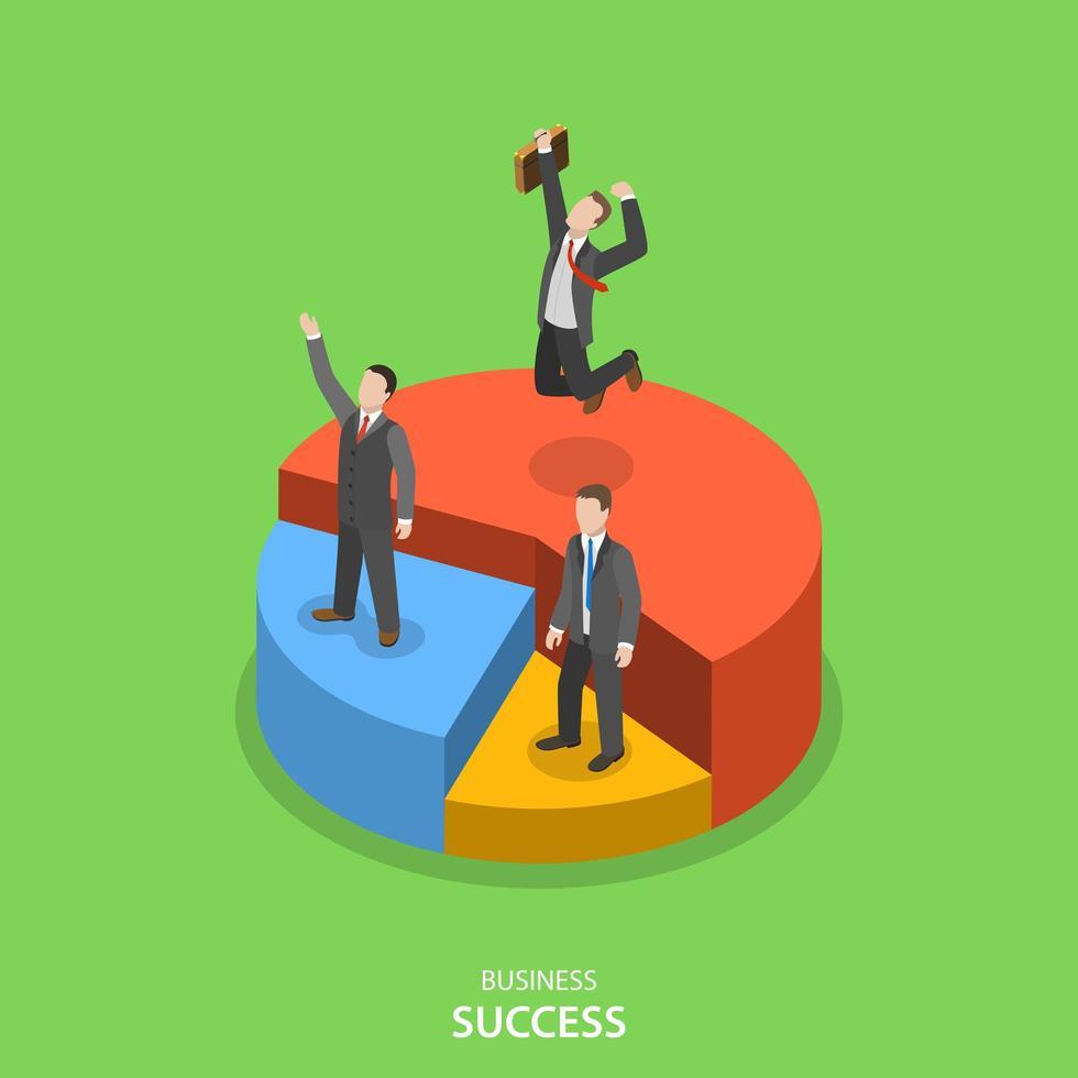 succesvolle zakenlieden op cirkeldiagram secties vector