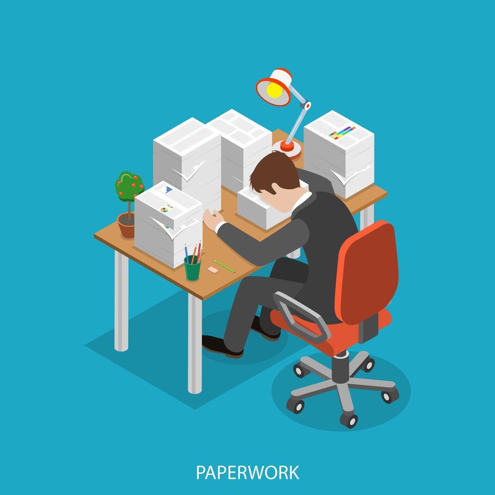 moe man aan bureau met veel papierwerk vector
