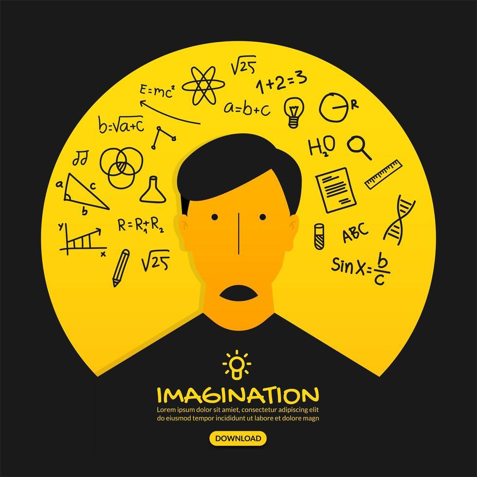 creatief ideeontwerp met slimme denkende mens vector