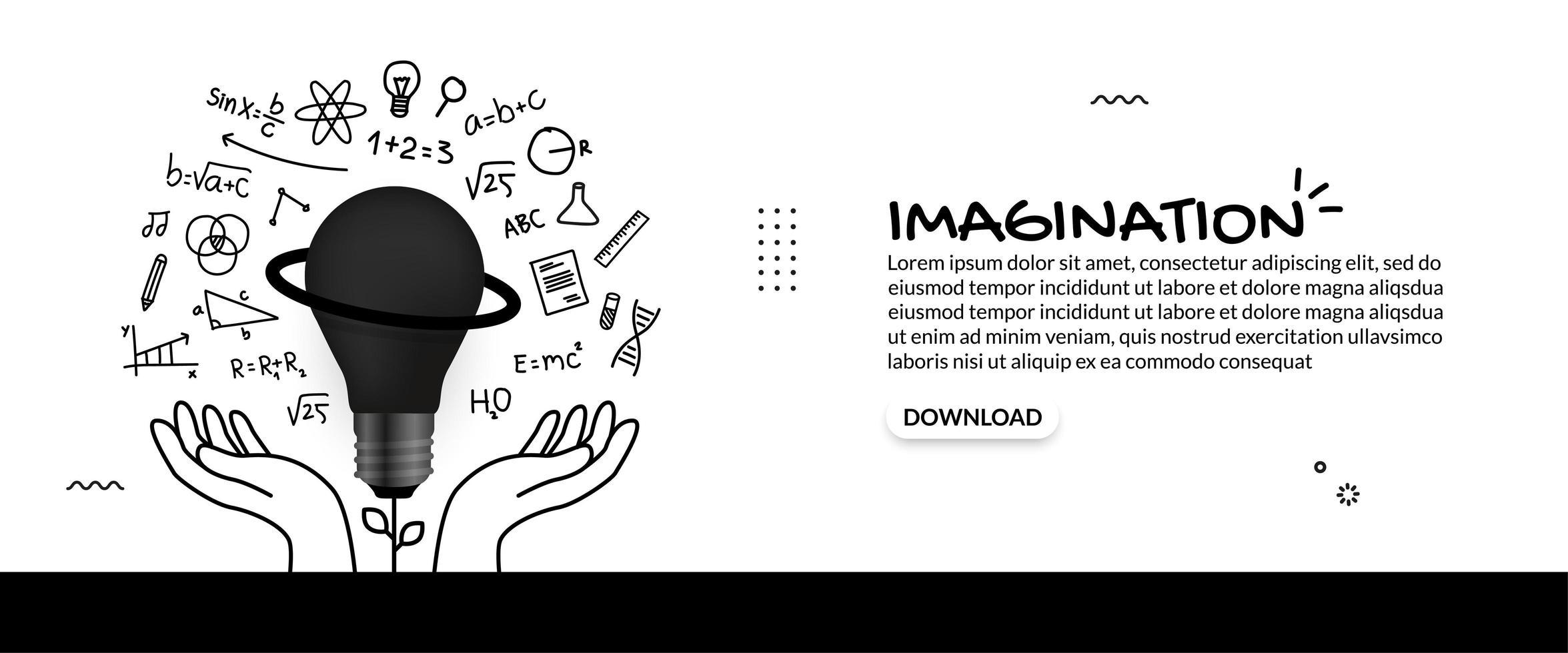 handen met gloeilamp met onderwijspictogrammen vector