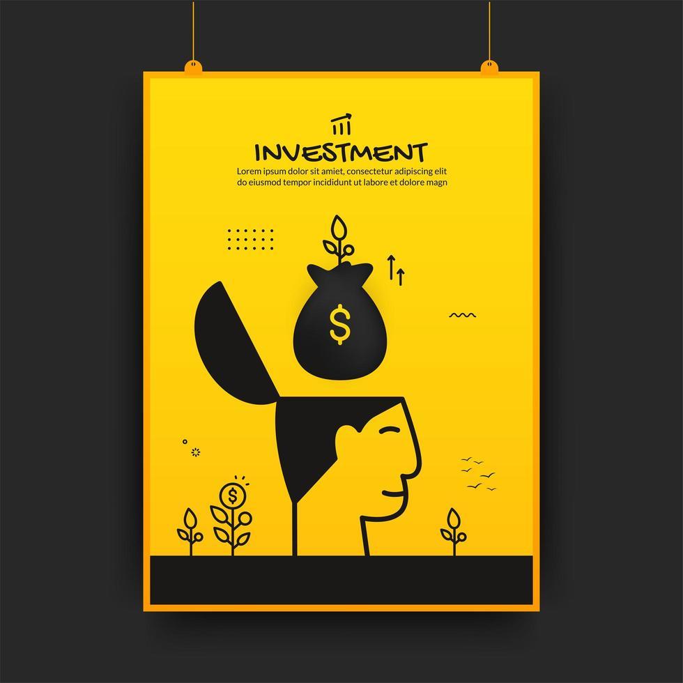geldzak zwevend boven menselijk hoofd investeringsaffiche vector