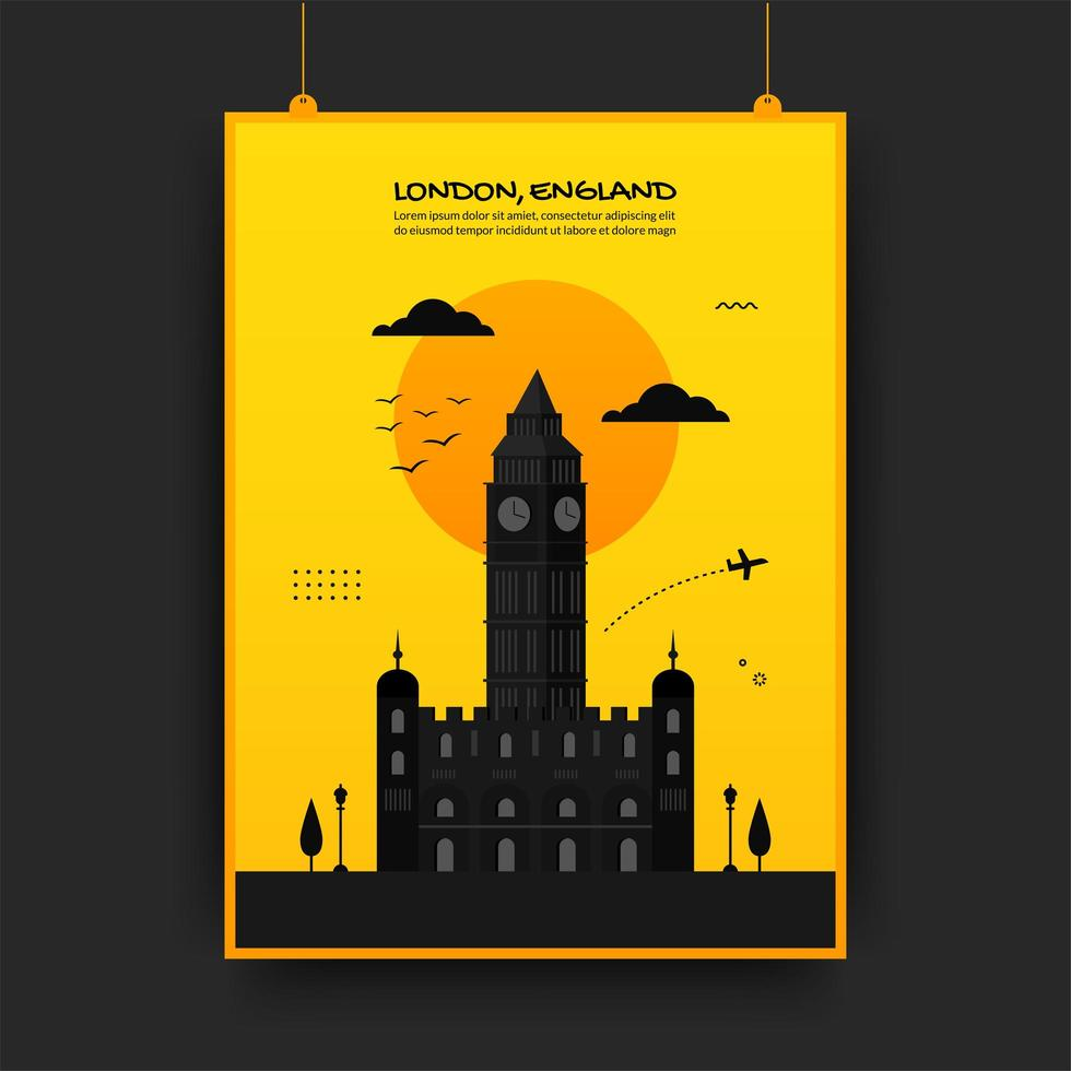 engeland reizende poster in geel en zwart vector