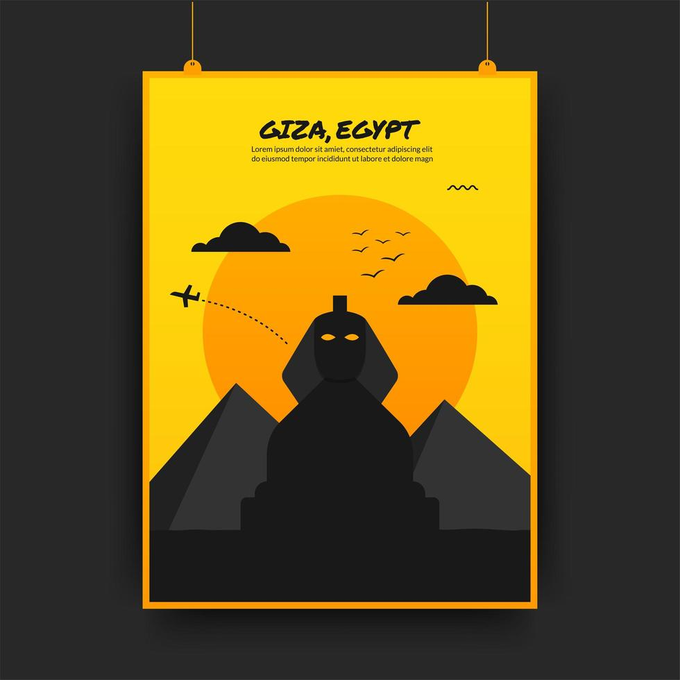 giza reizende poster in geel en zwart vector