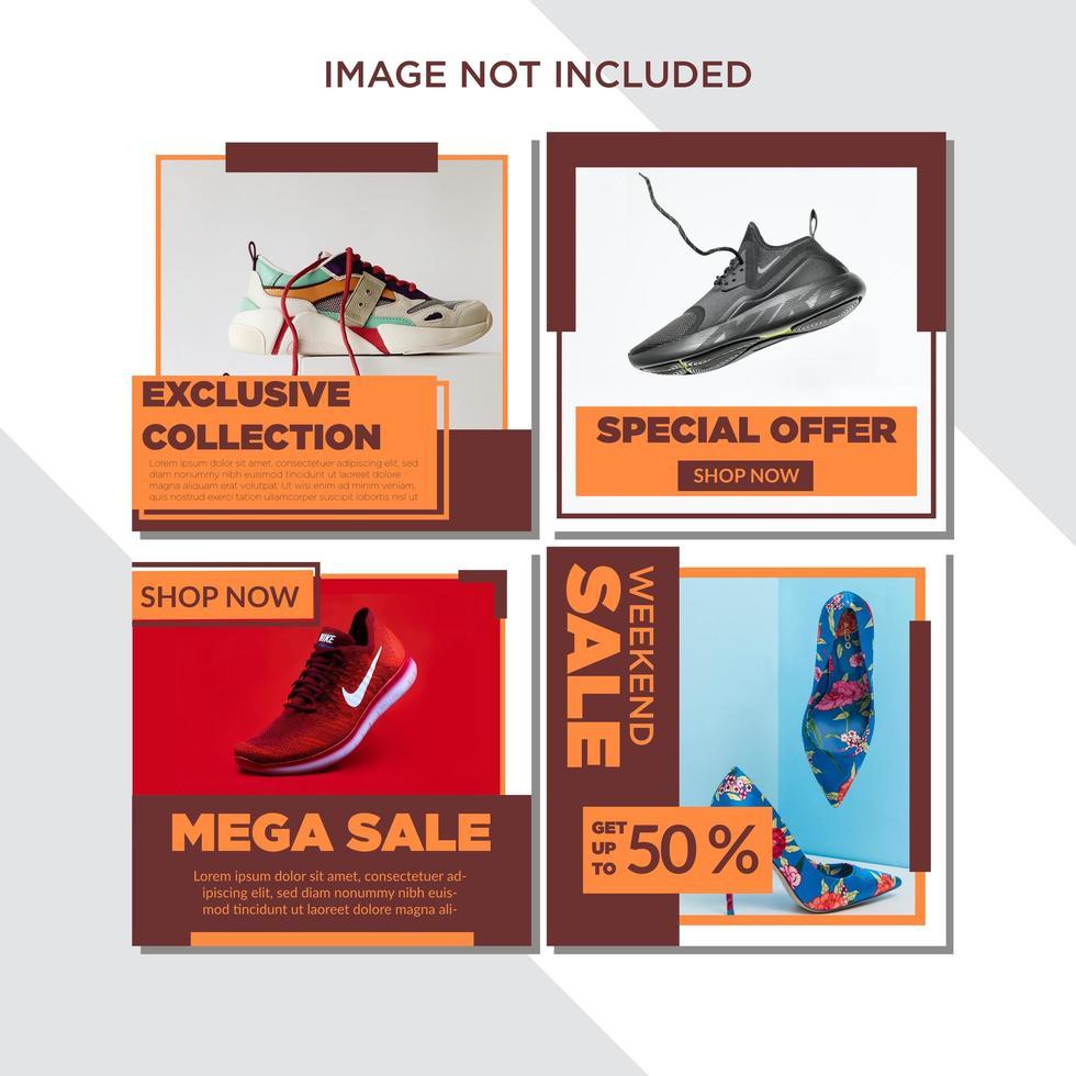 oranje blok sociale media sjabloon verkoop set vector