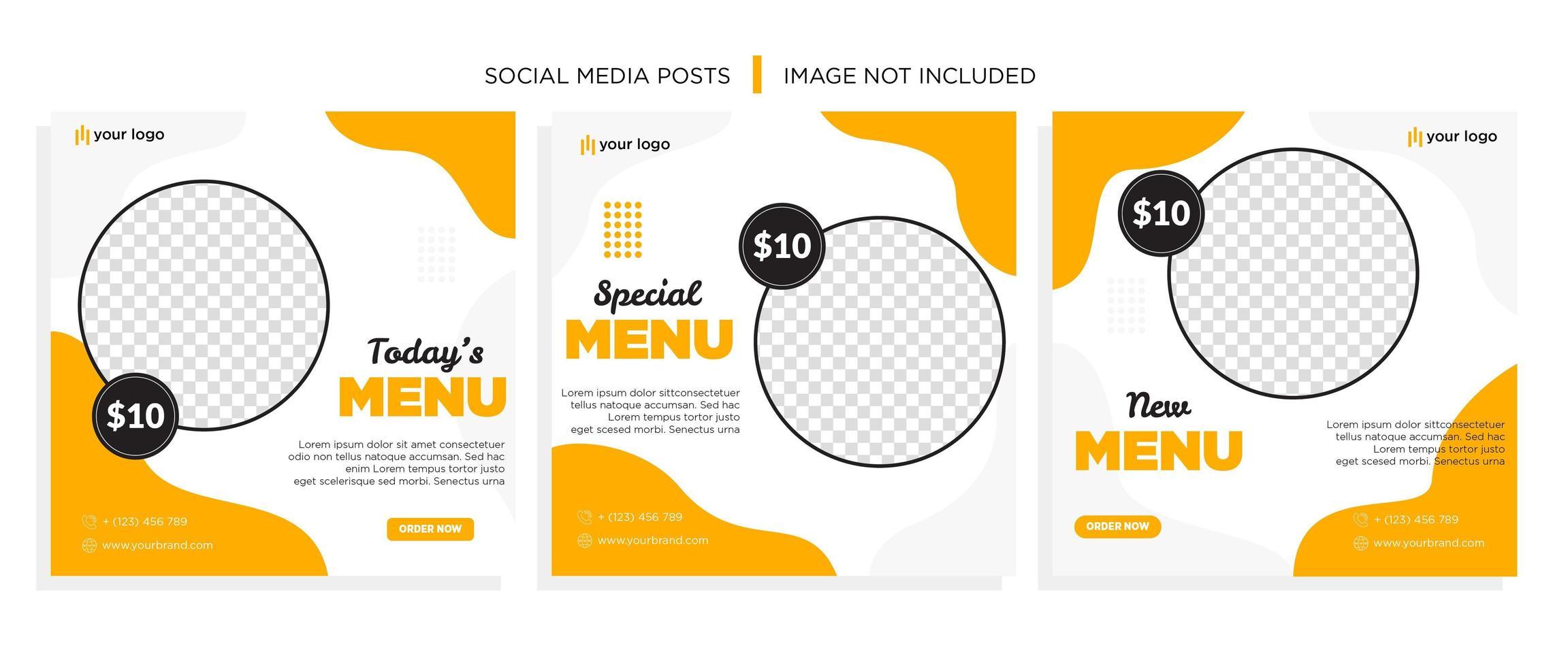 oranje en grijze golvende voedsel sociale mediasjabloon vector