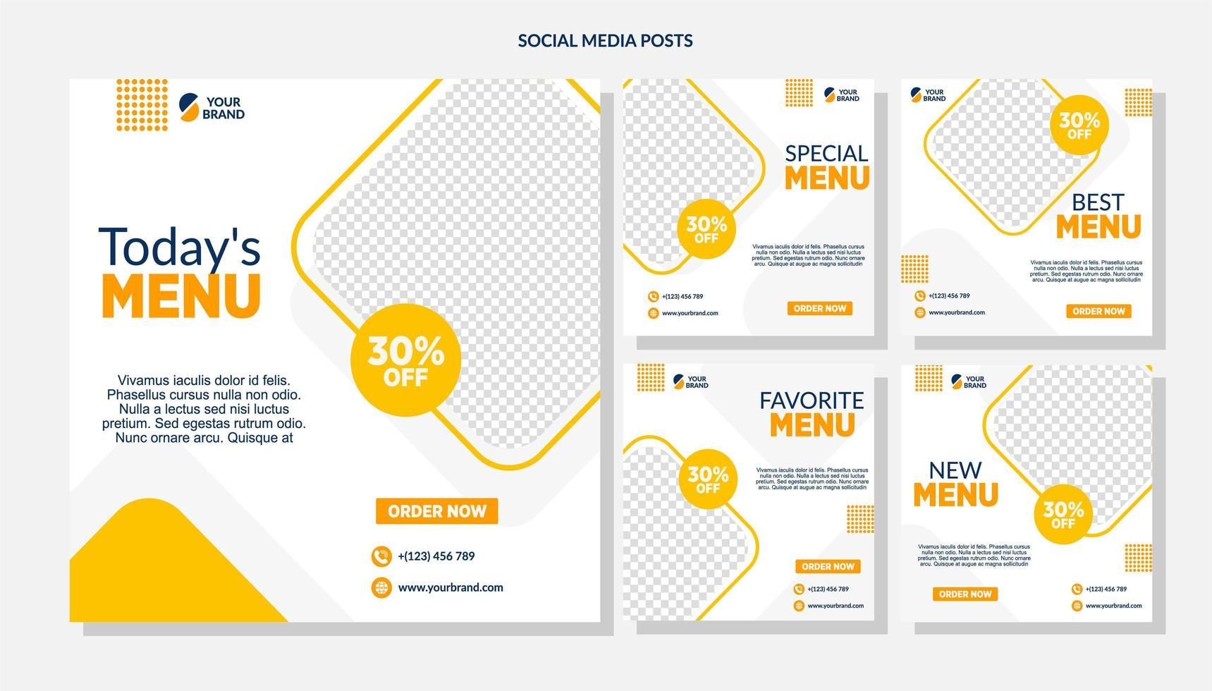 oranje diamant voedselverkoop sociale mediasjablonen vector