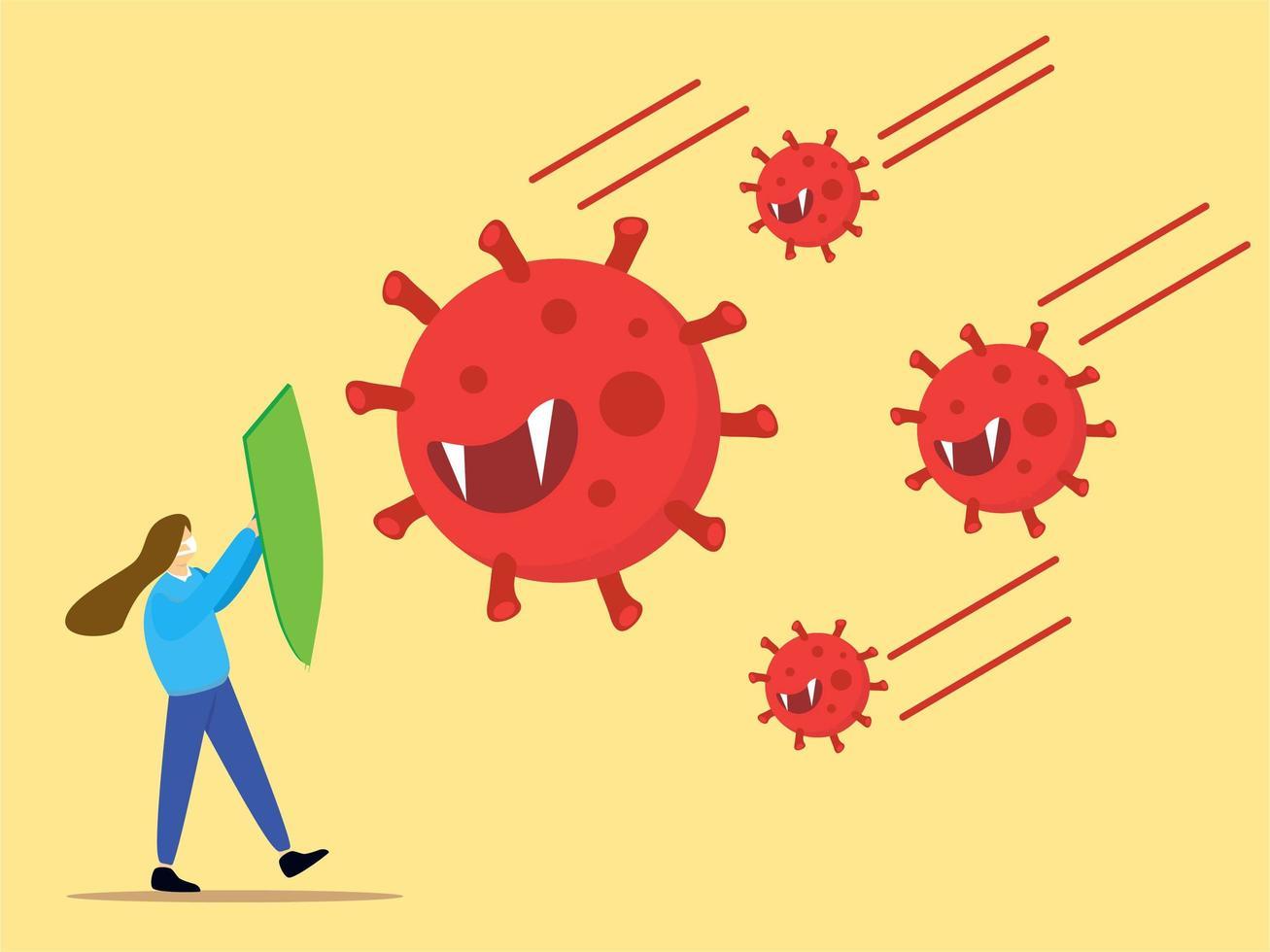 meisje gebruikt schild om te beschermen tegen coronavirus vector