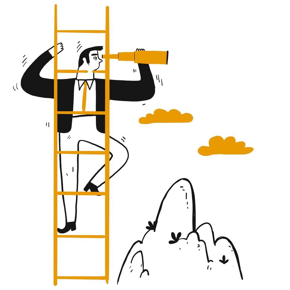 zakelijk leider met telescoop klimladder vector
