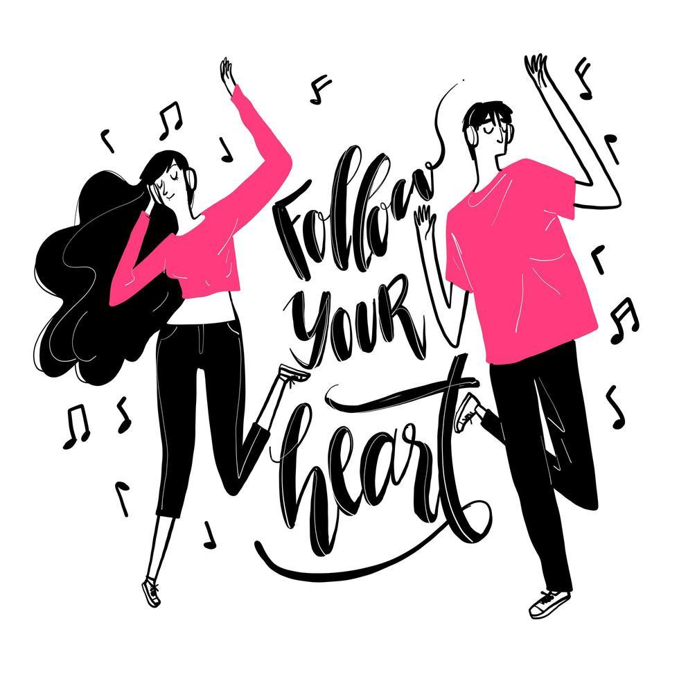 hand getrokken dansend paar en volg je hart-tekst vector