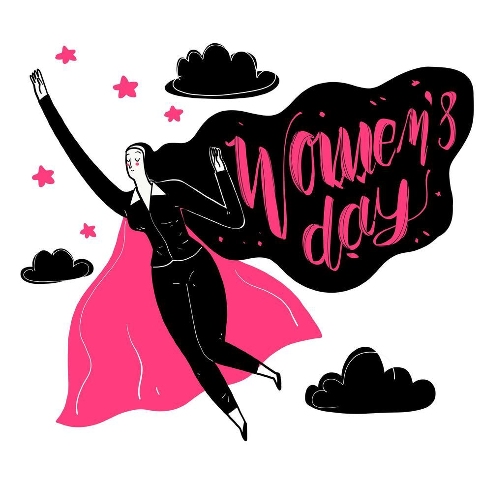 hand getekende vrouw met cape voor Vrouwendag vector