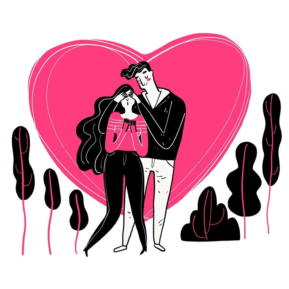 hand getekende paar met roze hart achter hen vector