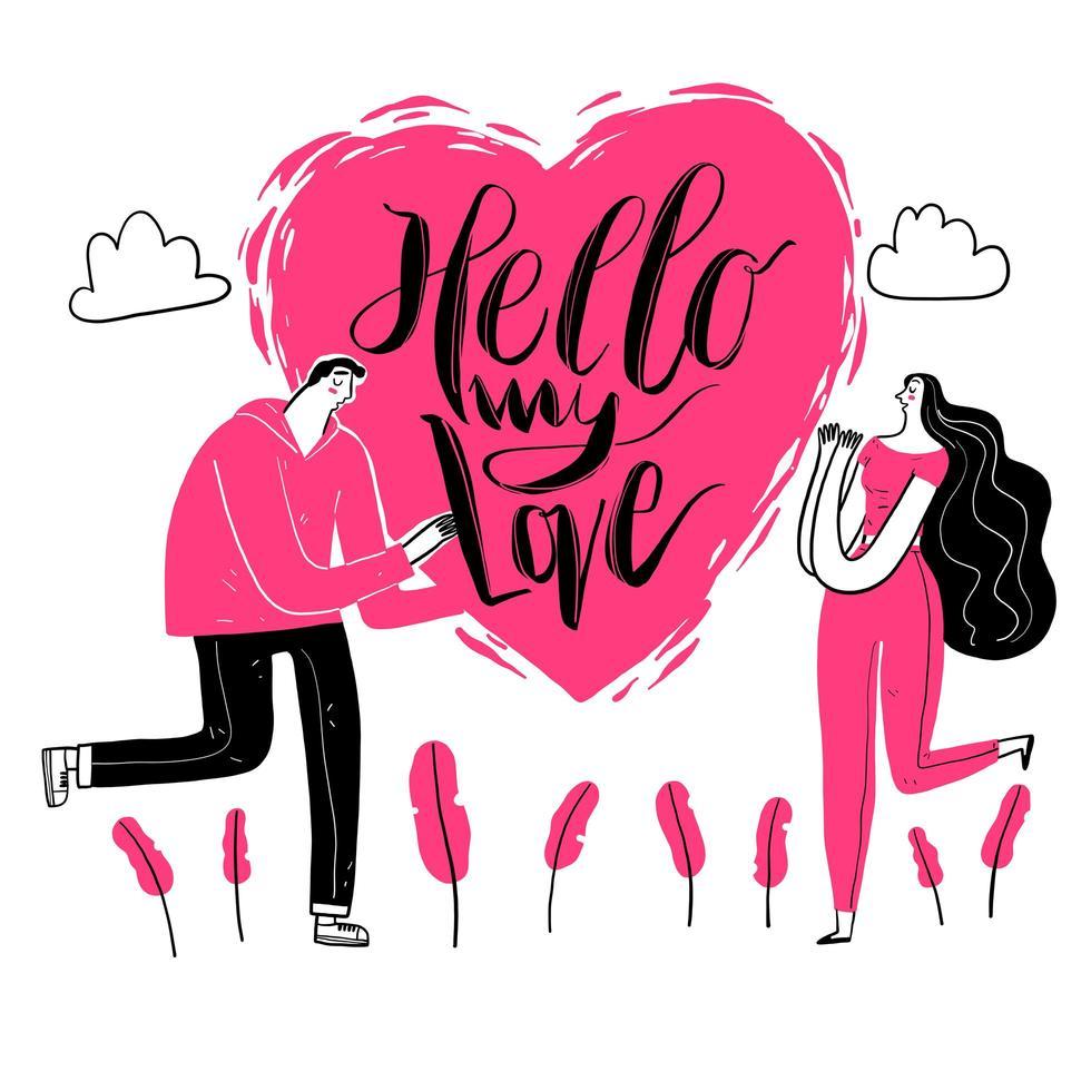 hand getrokken hallo mijn liefdetekst en paar vector