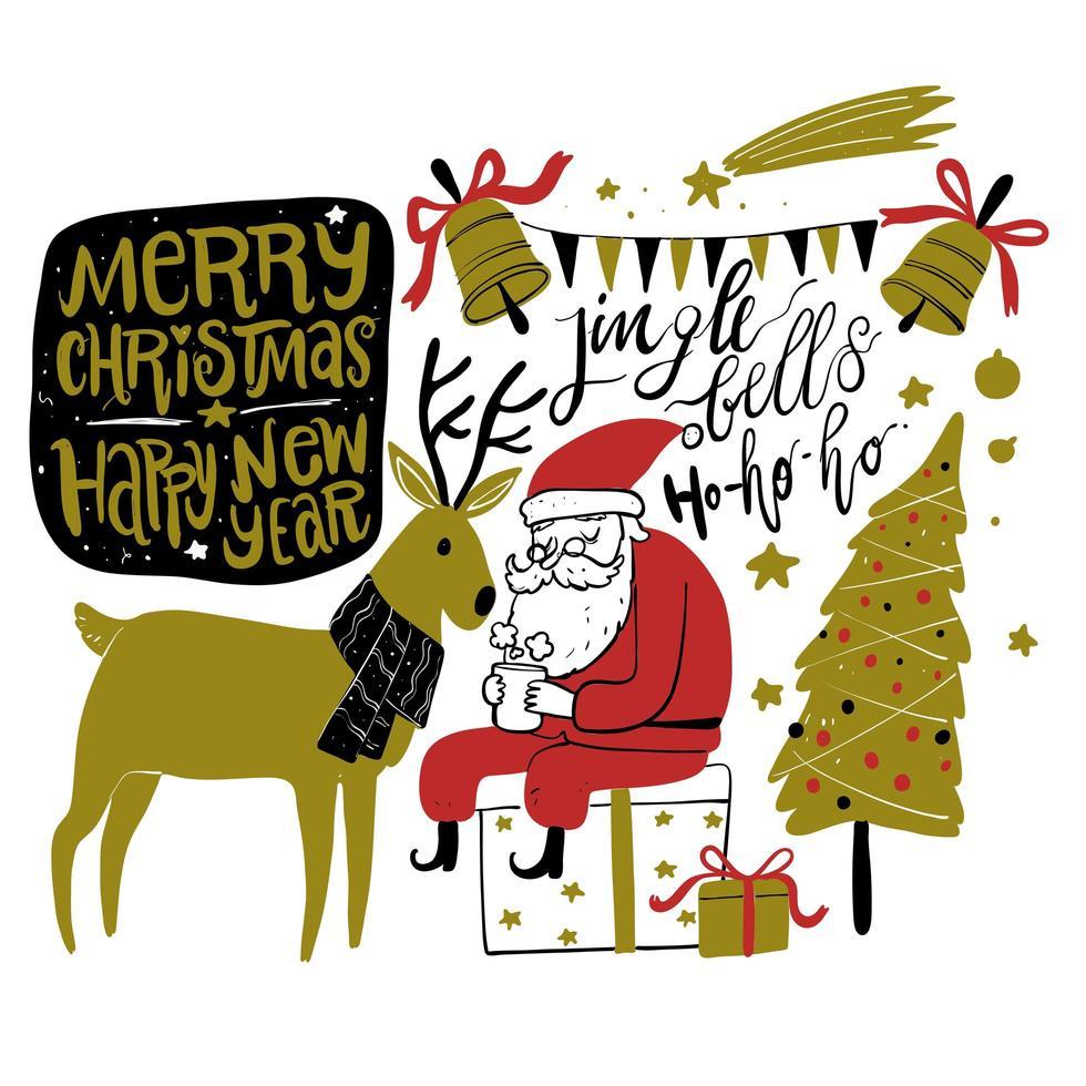 hand getrokken kerstseizoen santa en herten vector