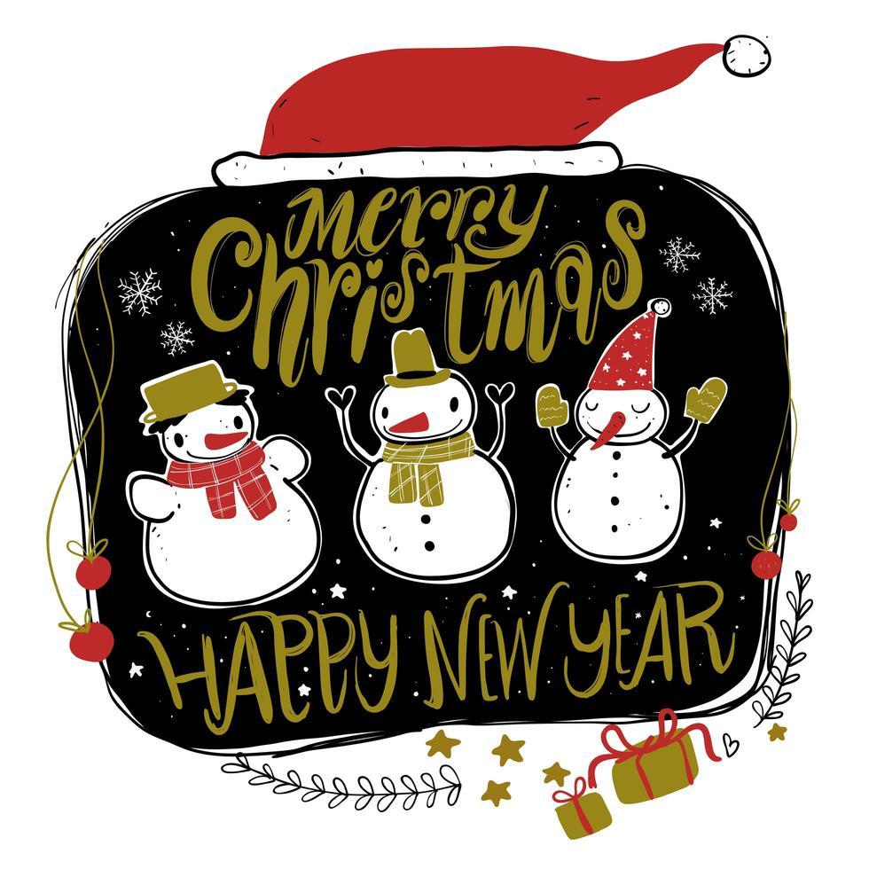 hand tekenen sneeuwmannen en kerstmuts vector