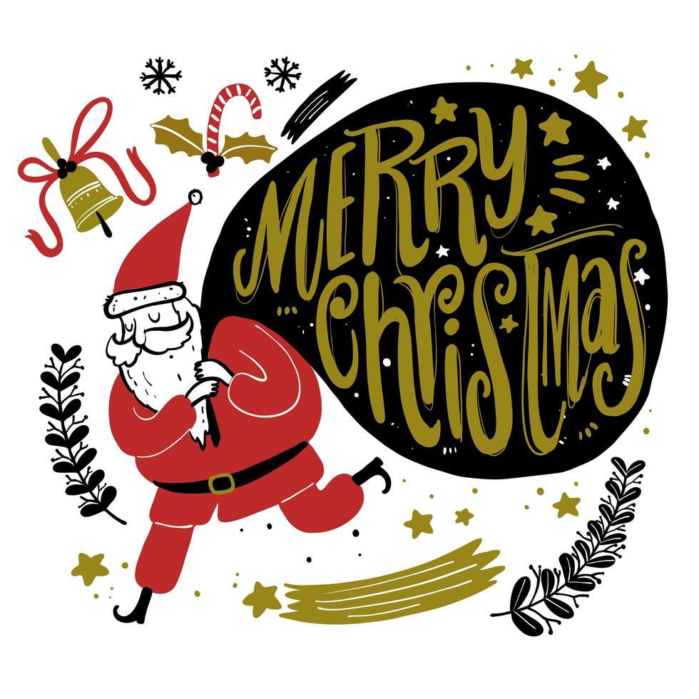 hand getrokken santa die een groot cadeauzakje draagt vector