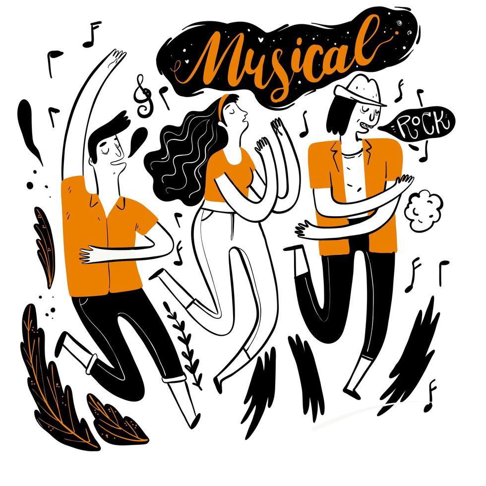 hand getrokken mensen dansen op muziekfestival vector