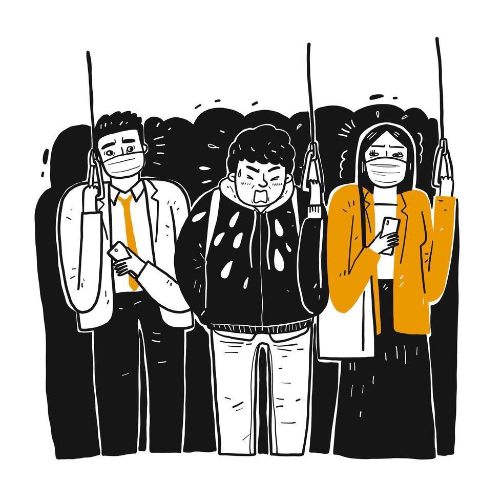hand getekende zieke man op trein niezen op mensen vector