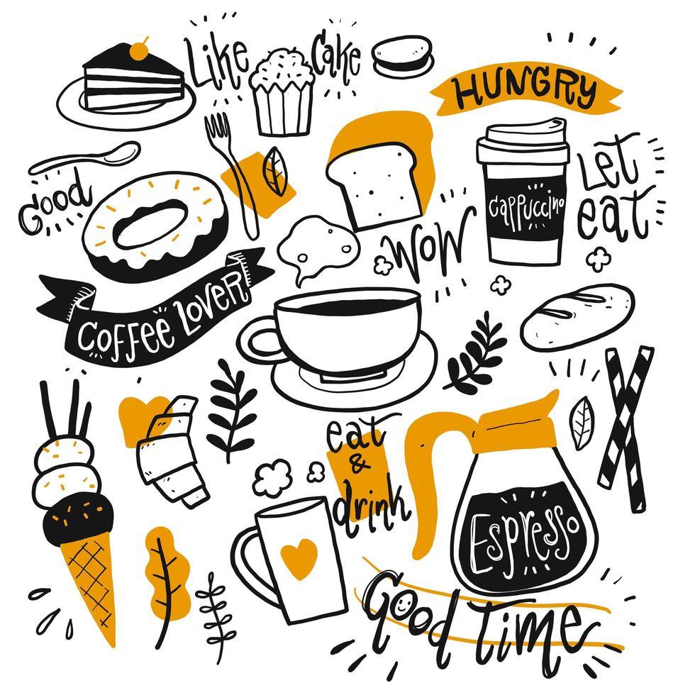 handgetekende koffie en desserts vector