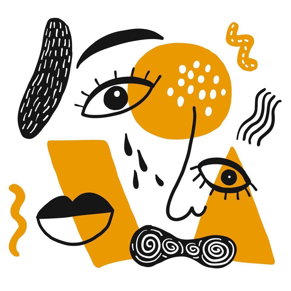 hand getekend abstract oog, neus, mond vector