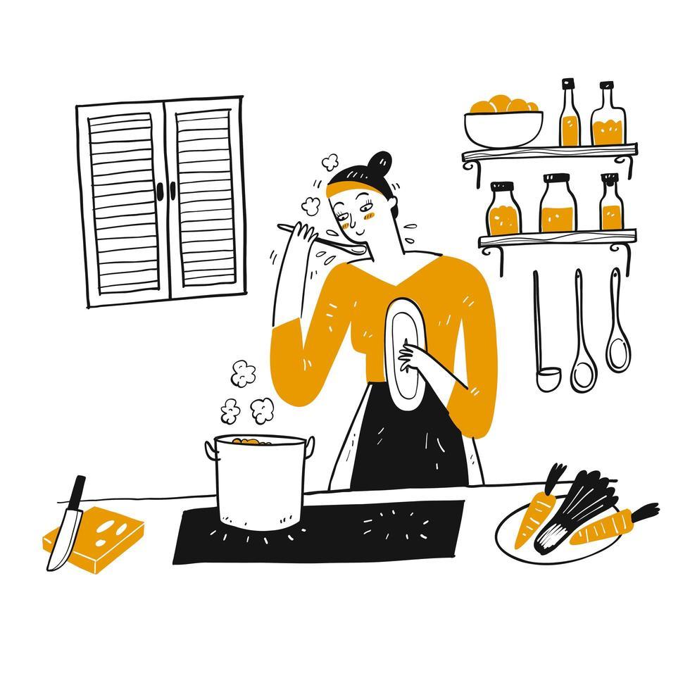 hand getekende jonge vrouw kookt in haar keuken vector