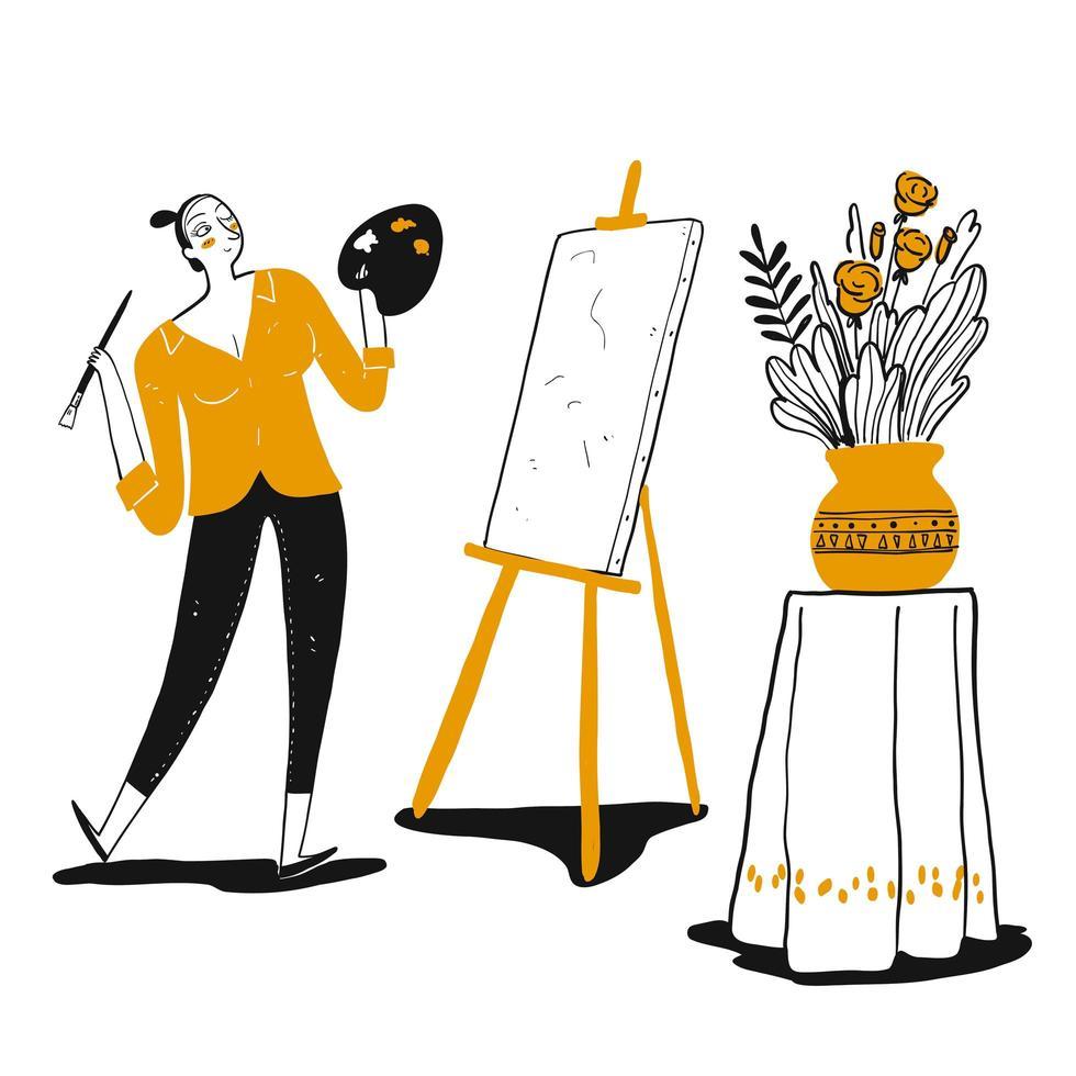 hand getekend creatieve vrouw thuis schilderen vector
