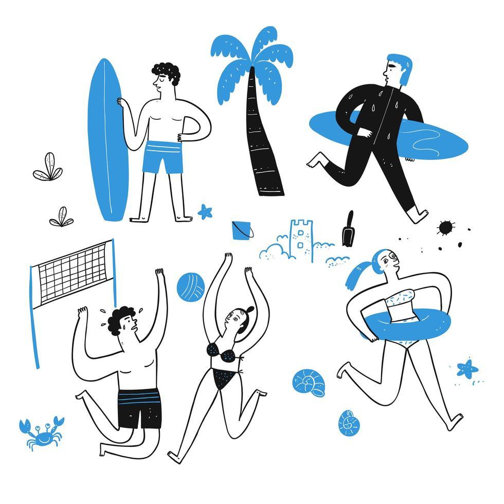hand getekende mensen op het strand vector