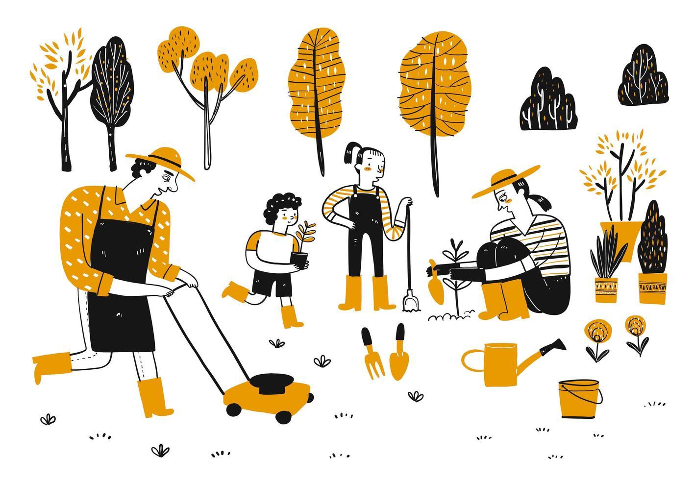 hand getrokken familie tuinieren vector