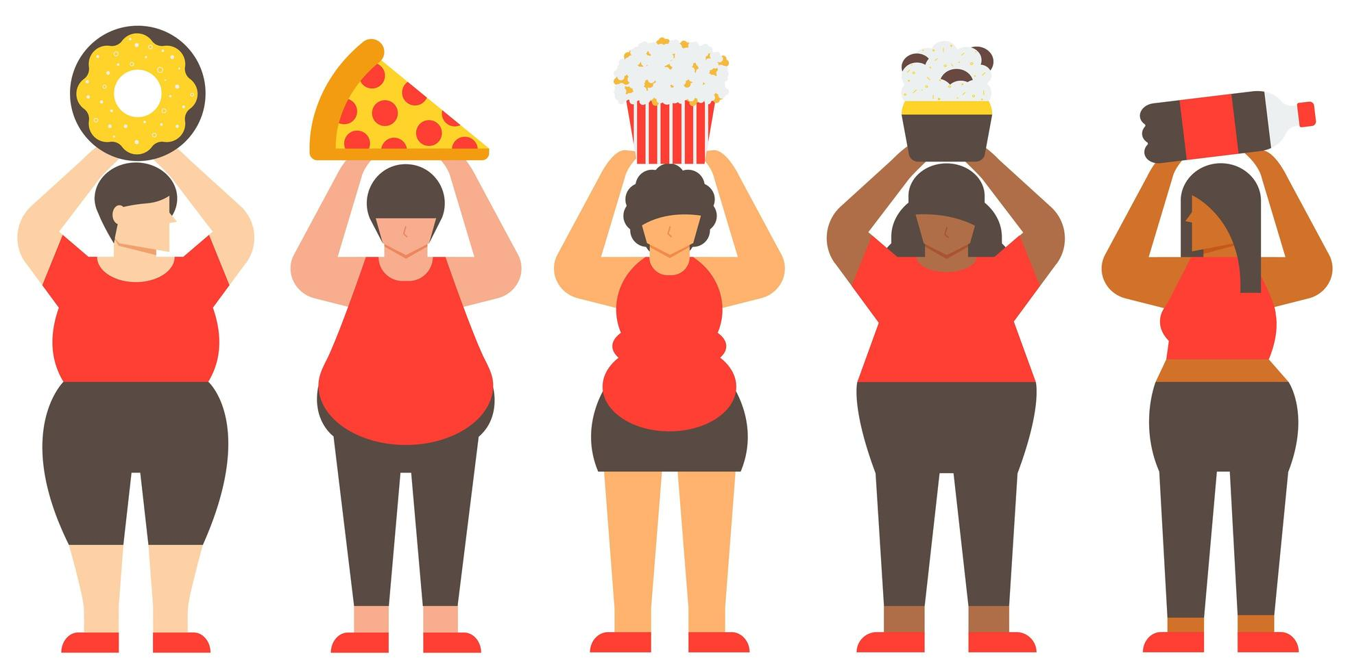 diversiteitsconcept van zwaarlijvige vrouwen en junkfood vector
