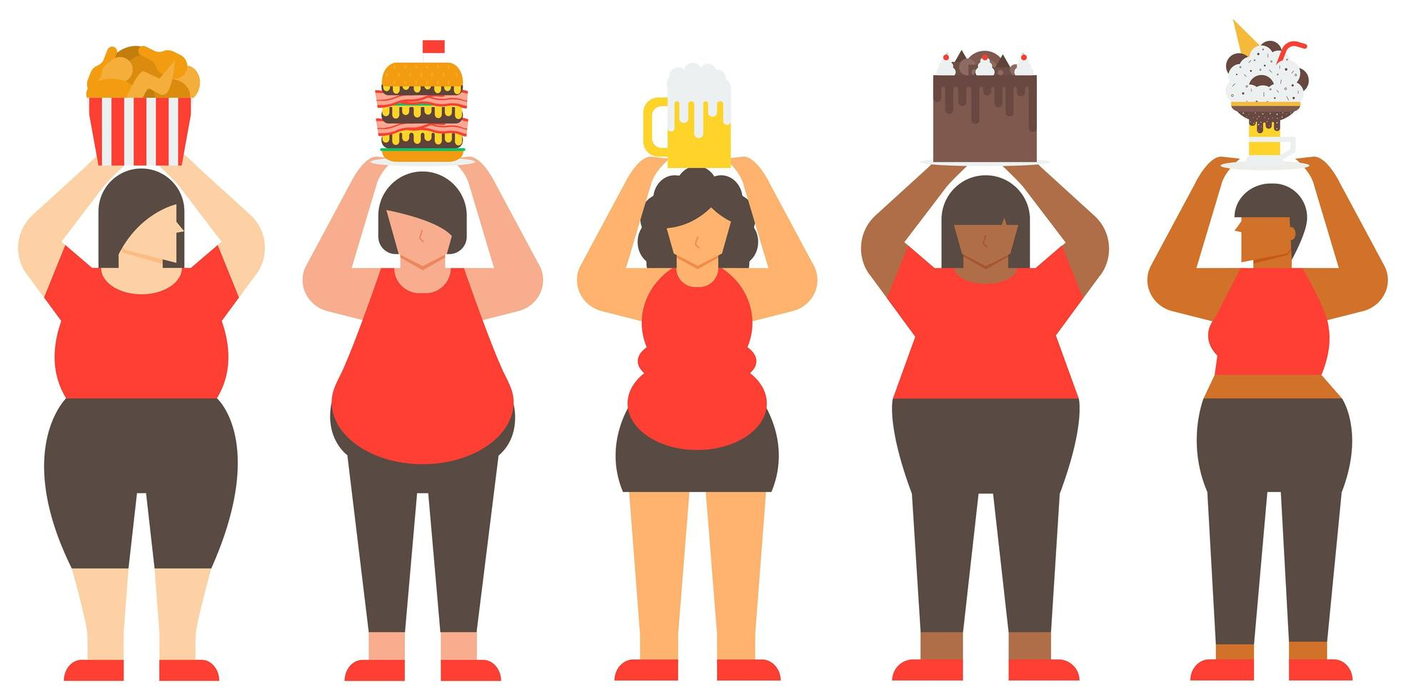 zwaarlijvige vrouw en junkfood vector