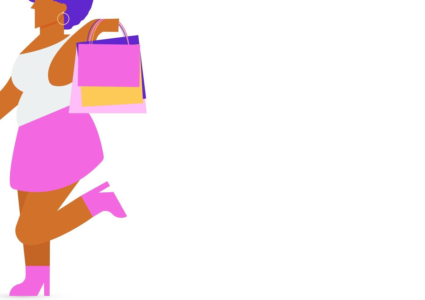 bochtige zwarte vrouw karakter met een boodschappentas vector