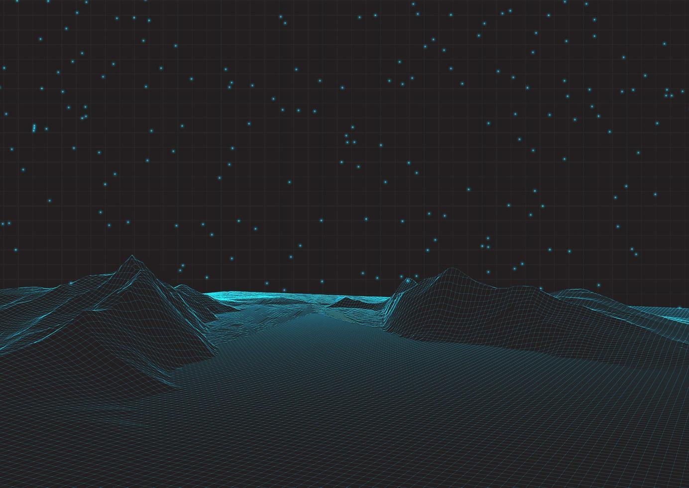 futuristisch draadframe landschap op raster vector